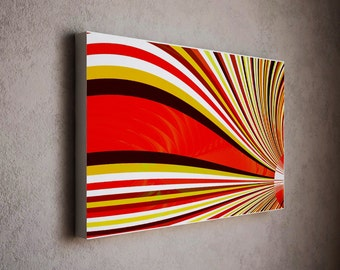 Mid century art canvas - red wavy artwork with sandy colors