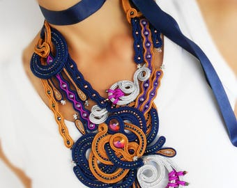 Blue soutache necklace, colorful free form soutache statement necklace, large royal blue soutache necklace with fuchsia and gray detail