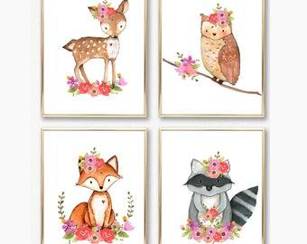 Nursery Decor. Woodland Animal Prints. Woodland Nursery Art. Baby Girl Prints. Nursery Prints. Floral Wall Art. Girl Floral Woodland Prints.