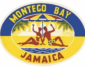 Vintage Style Montego Bay Jamaica Travel Decal sticker