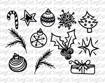 Christmas decoration SVG Cut files, Candy cane, Christmas gift, Mistletoe, SVG Cut Files for Cricut, Silhouette and other Vinyl Cutters
