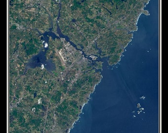 Portsmouth New Hampshire Satellite Poster Map