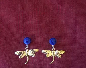 Blue glitter and gold dragonfly drop earrings! SHIPS IMMEDIATELY from USA! Gifts for her!