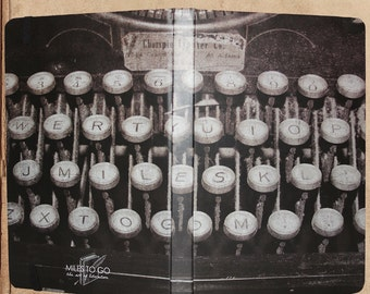 Old Typewriter Journal Notebook - 240 pages - sewn bound - 8.5 x 6 - split blank/lined pages