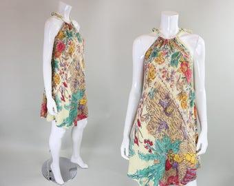 1970's Gauze Dress with Block Print