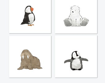 Arctic Animals Nursery Prints - Puffin, Polar Bear, Walrus, and Penguin Illustrations for Kids Room