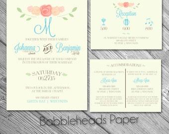 Floral Pastel Rustic Garden Wedding Invitations Package