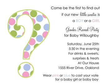 10 Gender Reveal Invitations with Envelopes.  Free Return Address Labels
