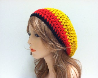 Crochet Rasta Beret Hat