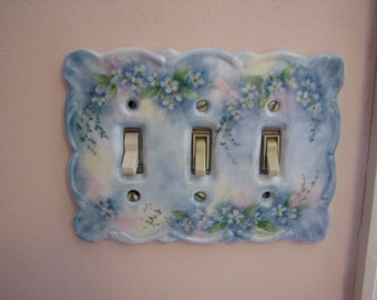Triple Switchplate with hand painted Forget-me-not flowers