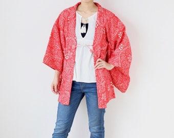 floral shibori kimono, short kimono, Haori, tie dye kimono, festival clothing /3503