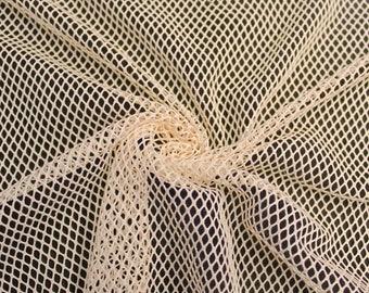 "Tan 58"" Fish Net Lace Fabric by the Yard - Style 461"