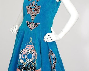 1960s Vintage Irish Celtic Swan Embroidered Solo Velvet Dance Dress Sz S