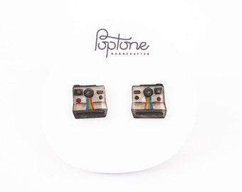 Polaroid Camera Earrings, vintage camera studs, photographer gift, vintage polaroid