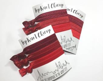 Red Ombre Hair Ties - Red Hair Ties - Hair Elastics - Elastic Hair Ties - Ponytail Holders - Hair Tie Bracelet - Yoga Hair Ties - Hair Bands