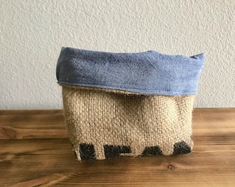 Storage and Organization Fabric Basket/Burlap Bin/Coffee Sack Storage Bin/Upcycled Basket/Coffee Lovers Gift