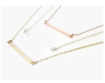 14k Gold Bar Necklace, Balance Bar Necklace, Bar Necklace Gold, Skinny Bar Necklace, Minimalist Necklace, Gold Bar Necklace, Solid Gold Bar