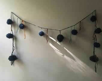 Handspun Art Yarn Pom Pom Garland (indigo)