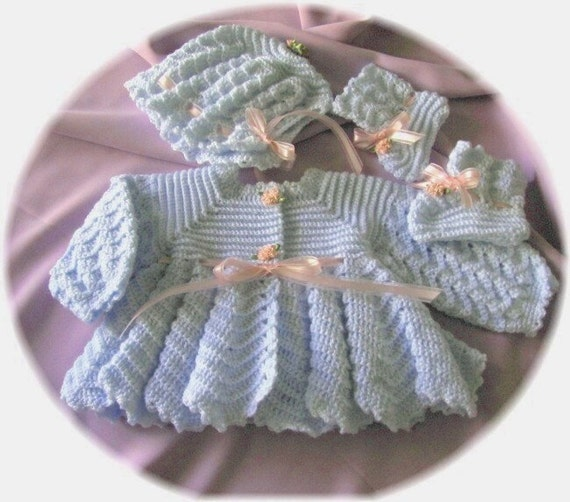 Crochet Pattern For Baby Ripple Stitch Sweater Bonnet And