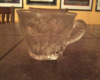 Precious antique daisy flower glass punch cup.