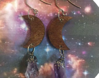 crescent moon earrings, wood moons, moon earrings, amethyst earrings, quartz crystals