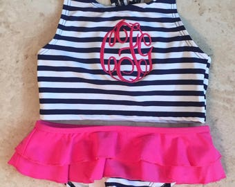 Monogramed Two Piece Swimsuit, Girls Swimsuit, Toddler Bathing Suit, Personalized Girls Swimsuit, Swimsuit, Girls Birthday Gift,