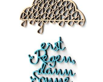 cloud / rain is followed by sunshine / wood motive