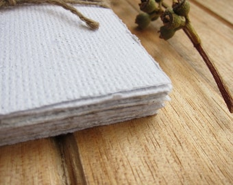 """16 Handmade paper sheets, White Recycled paper, Natural Eco wedding paper, Textured paper, Homemade paper, Note paper, 3"""" x 4 """", 7.5 x 10.5"""