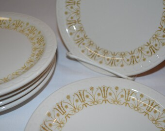 Syracuse China Yellow Gold Art Deco Scalloped Pattern - SET of 6 - Dessert Salad Plate White China - Ironstone Railroad Restaurant Ware