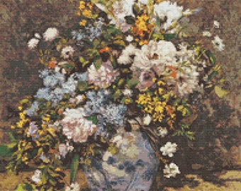 Floral Cross Stitch Kit, Flowers Cross Stitch, Pierre-Auguste Renoir, Embroidery Kit, Art Cross Stitch
