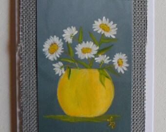 Daisies Card Daisy Card Vase of Daisies Card Hand Painted Greeting Cards Daisies Greetings Card Daisies Art