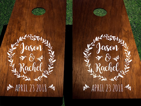 Custom wedding cornhole decals with names and date