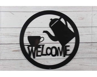 Coffee Carafe Welcome Metal Wall Art Sign
