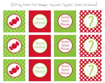 Sweet Christmas Cupcake Toppers