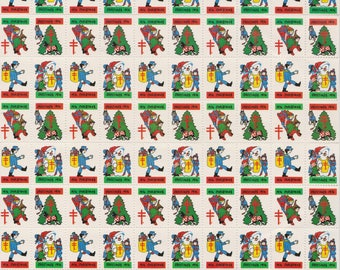 1974 Christmas Seals Issued by American Lung Association, Full sheet of 100 Seals, Vintage Ephemera