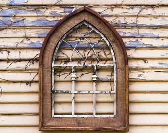 Ornate Cathedral Window Frame Art |Metal|Rustic|Reclaimed Wood|Wood Sign|Farmhouse|Vintage|Wood|Antique|Shabby Chic|Primitive|Shutters