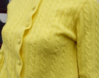 Bright Yellow Vintage 1950s Cable Knit Wool Cardigan M