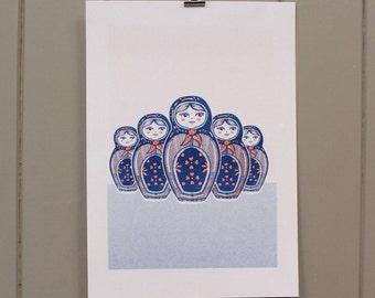 Russian Doll A4 Riso Print