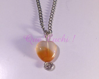 Chain with Carnelian stone Heart  pendant