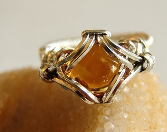Natural Citrine Wire Wrapped Ring November Birthstone