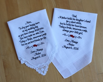 Wedding handkerchief, set of 2, Parents of the Bride,  Embroidered Wedding hankies.  Personalized Wedding Gift. Canada. LS0MS1F23SV114