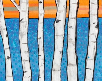 Birch Trees Modern ocean sunset Print Shelagh Duffett