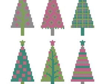 Cross Stitch Pattern Christmas Trees in 4 color combinations. Winter Holiday 2013
