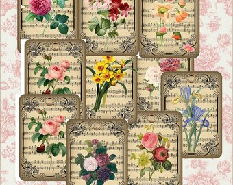 Botanical Floral Tags Digital KIT