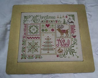 Christmas - counted cross stitch Chart by French designer. European words for Christmas. Traditional Xmas motifs and colours.