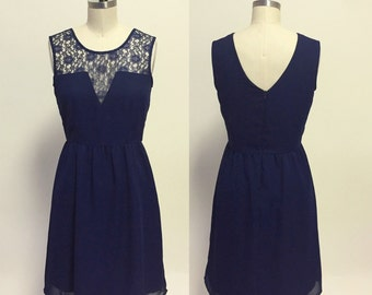 GLORIA  (Navy) : Navy blue silk chiffon dress, low v cut lace illusion neckline, vintage inspired, party, day, bridesmaid