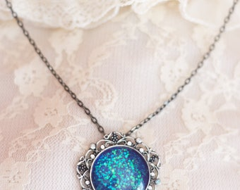 Amulet Fantasy Necklace - blue and teal glitter with Swarovski crystal. Hand painted LIMITED EDITION