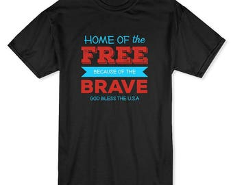 Patriotic Home Of The Free Because Of The Brave Men's T-shirt