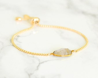 Golden Rutilated Bracelet, Charm Bracelet, Gemstone bracelet, Birthstone bracelet, Adjustable bracelet, Chain and Charm