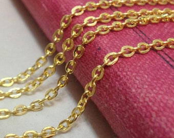 2 mm Golden Plated Flat Cable Link Chain Necklace (.gg)